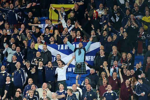 Scotland fans celebrating