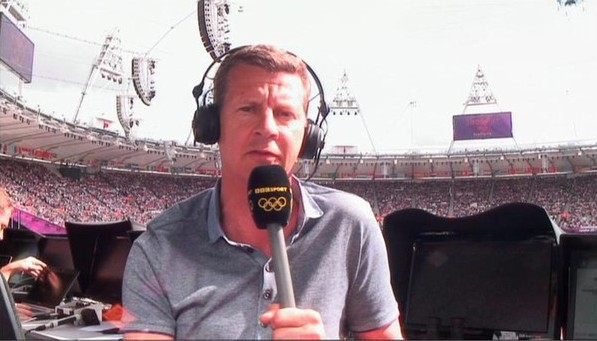 Steve Cram commenting for BBC at London 2012 cropped
