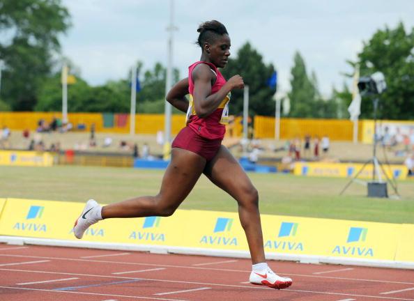 Victoria Ohuruogu at the English Schools Track and Field Championships