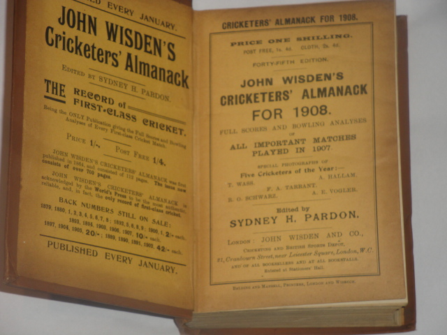 Wisden Cricketers Almanack in 1908