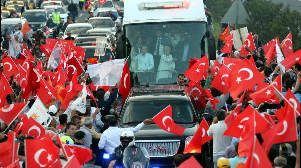 Recep Tayyip Erdogan with supporters in Turkey