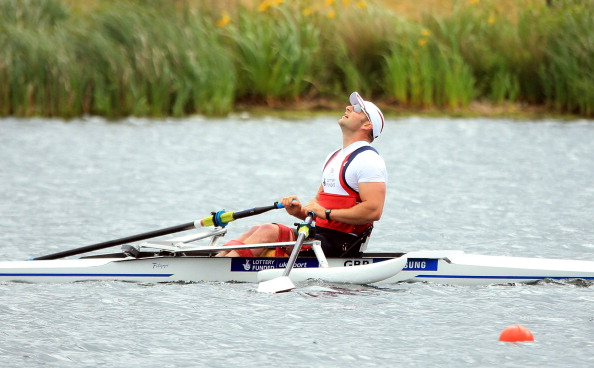 Tom Aggar of Great Britain wins the Adaptive AS Mens Single Sculls final during day two of the 2013 Samsung World Rowing Cup II at Eton Dorney on June 22 201