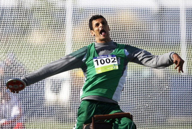 Algerian Lahouari Bahlaz claimed gold in the mens discus setting a new F32 world record in the process