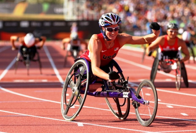 American Tatyana McFadden celebrates an unprecedented sixth individual gold at the IPC World Championships in Lyon