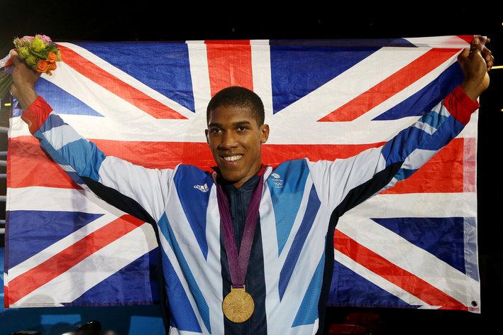 Anthony Joshua with British flag at London 2012