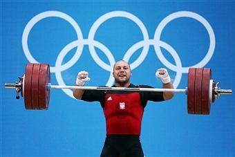Bartlomiej Wojciech Bonk of Poland competes in the Mens 105kg