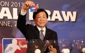 C K Wu making draw for WSB IV Lausanne July 2 2013