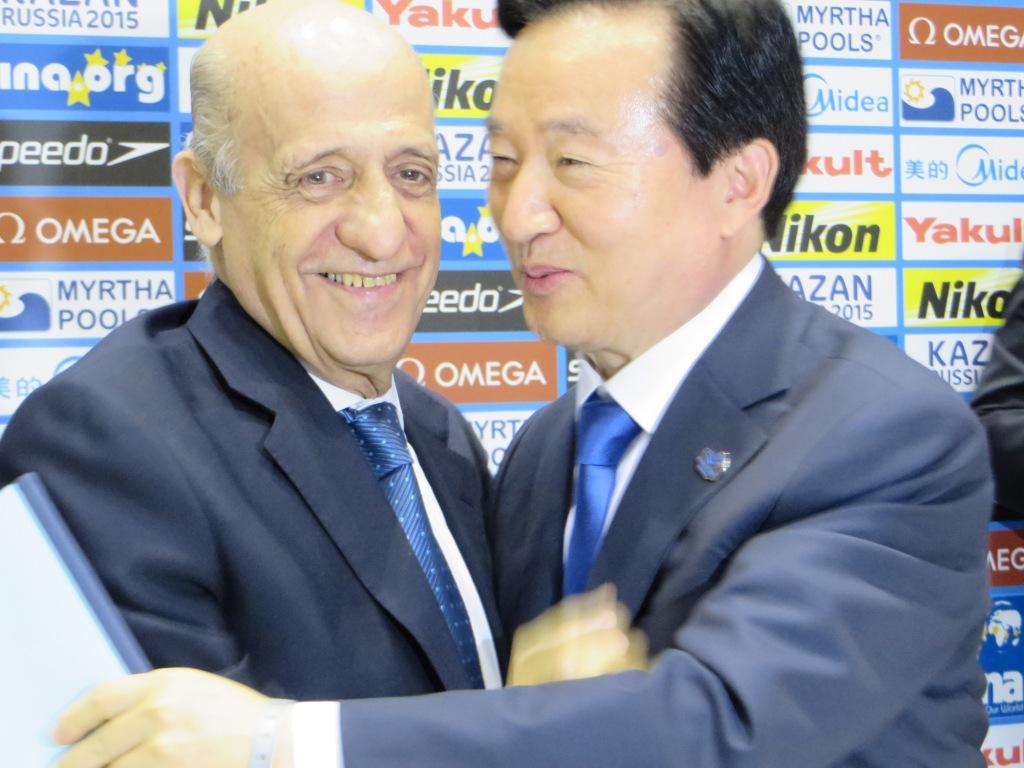 FINA President Julio Maglione and Gwangju Mayor Kang Un-Tae