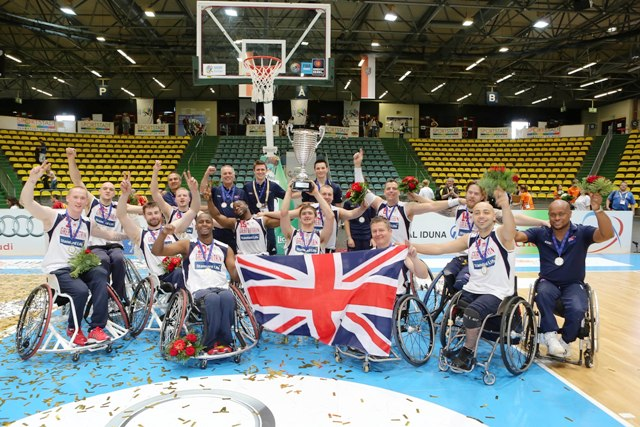 GB Men winning team with trophy