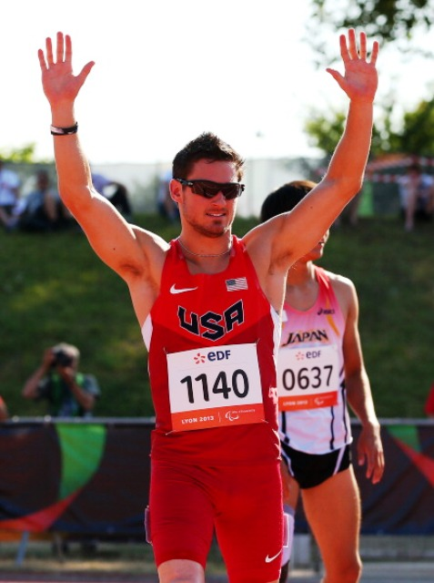 Jarryd Wallace set a new world record time during the semi finals of the T44 200m in Lyon