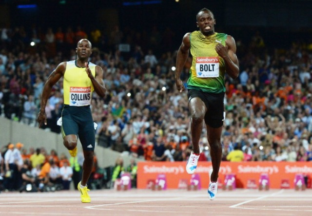 Kim Collins left finished fourth in the 100m at the London Anniversary Games behind winner Usain Bolt of Jamaica