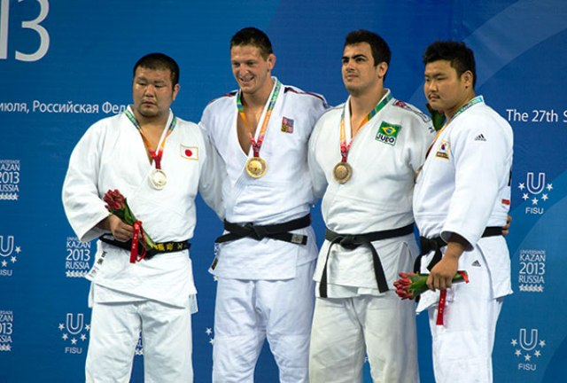 Lukas Krpalek secured his second individual judo gold medal in the mens open category at Kazan 2013