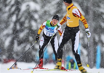 Margarita Gorbounova of Canada competes during the Womens 3km Pursuit Visually Impaired Biathlon on Day 2 of the 2010 Vancouver Winter Paralympics at Whistler