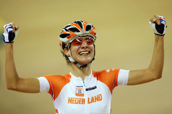 Marianne Vos of Netherlands celebrates after winning the gold medal in the womens points race