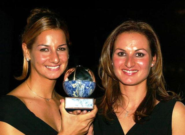 Sofia Bekatorou left and Emilia Tsoulfa from Greece winners of the Female ISAF Rolex World Sailor of the Year Awards in 2002 and 2004