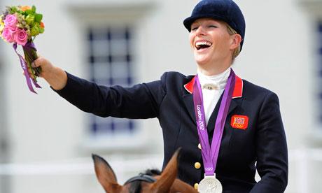 Zara Phillips celebrating London 2012 silver medal
