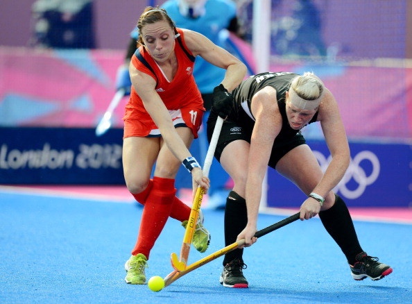 Britain's captain Kate Walsh (left) in action during the London 2012 Olympic bronze medal match against New Zealand