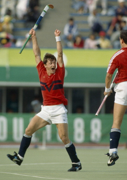 Sean Kerly jumps for joy as Britain beat West Germany 3-1 in the 1988 Olympic hockey final
