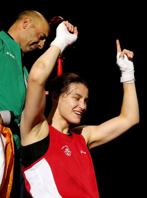 Katie Taylor celebrating victory London 2012