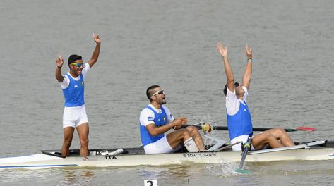 Luca Parlato, Vincenzo Abbagnale and coxswain Enrico D'Aniello have won the men's coxed pair world title in Chungju
