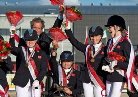 Britains victorious Para-Dressage team celebrate a dominant win
