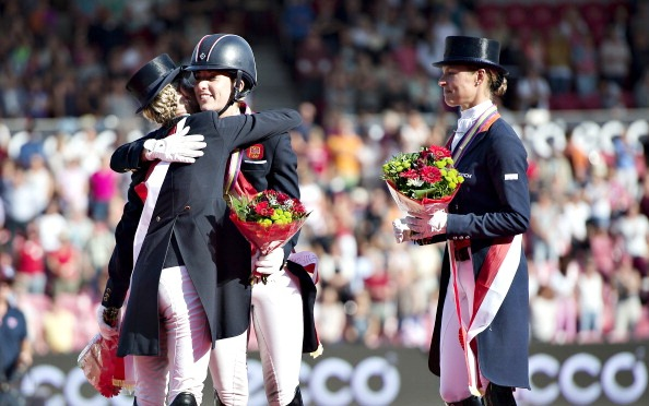 Charlotte Dujardin is congratulated after her gold medal in Herning