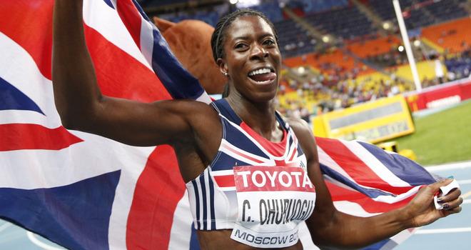 Christine Ohuruogu celebrates regaining the World Championship 400 metres title at Moscow