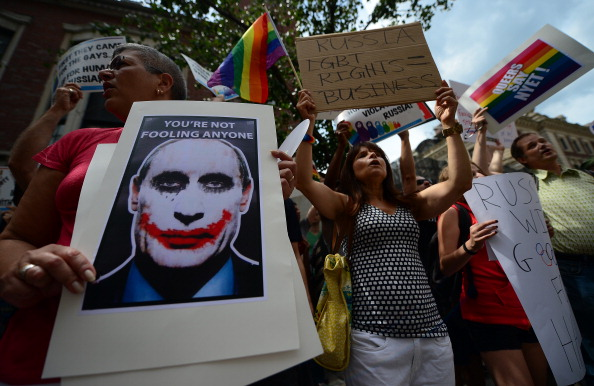 Protests against Russia's anti-gay legislation have taken place all over the world, including outside the Russian Consulate in New York