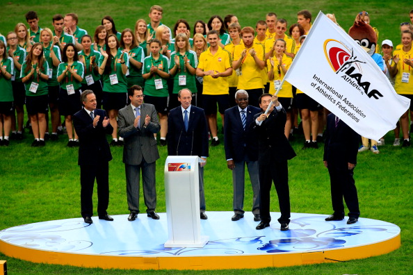 The IAAF flag passed from Moscow to Beijing at the end of the 2013 World Championships
