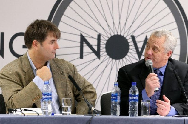 """Change Cycling Now founder Jaimie Fuller, pictured here with former two-time Tour de France winner Greg LeMond, has a """"vested interest"""" in the outcome of the UCI Presidential election, Pat McQuaid claims in his letter"""