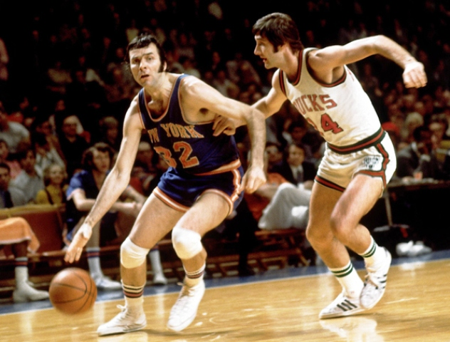 Jerry Lucas left in action for the New York Knicks with whom he won a National Championship in 1973