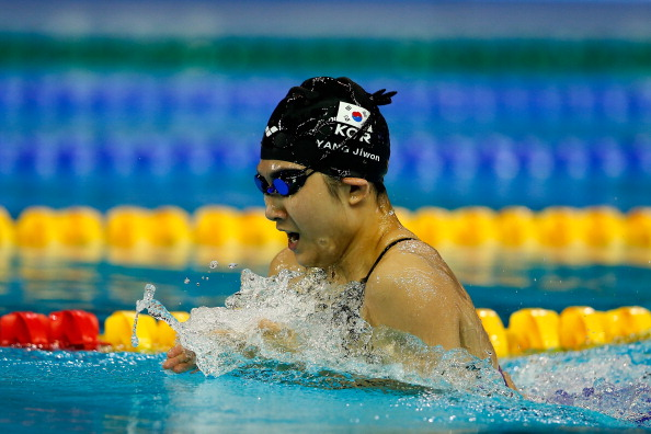 Jiwon Yang of South Korea on way to a gold medal in the womens 200m breaststroke