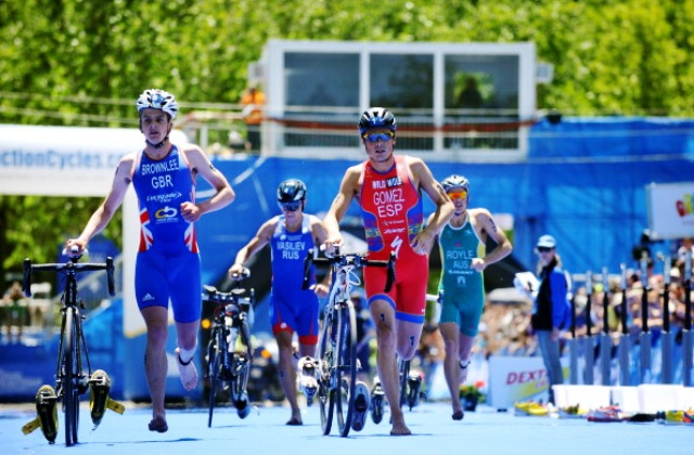Jonathan Brownlee (left) and Spain's Javier Gomez are very much in contention for the world title going into the Grand Final in London