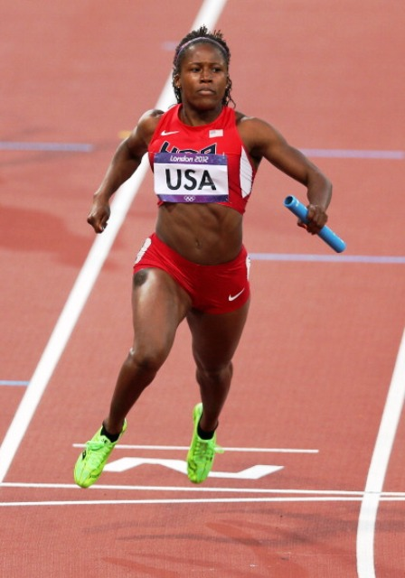 Lauryn Williams led the US womens 100m relay team to Olympic gold at London 2012