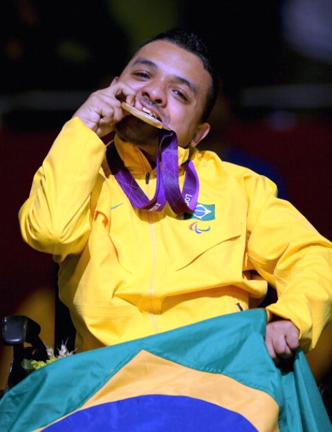 Maciel Santos celebrates gold at London 2012 in the BC2 boccia competition