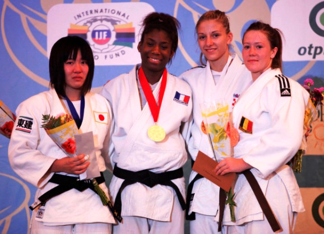 Marie Eve Gahie of France second left claimed top honours in the girls -70kg category