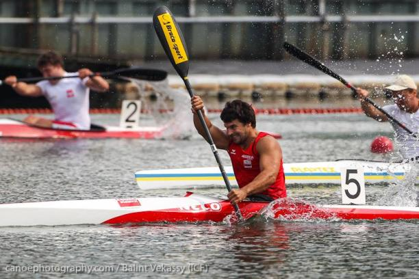 Austria's Mendy Swoboda successfully defended his paracanoe world title today in Duisburg
