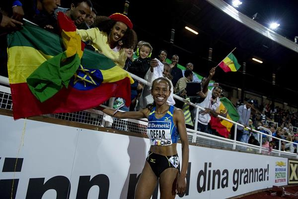 Meseret Defar won the 3,000m race in 8m 30.29sec - the world's fastest time this year