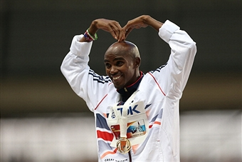 Mo Farah doing Mobot Moscow August 10 2013