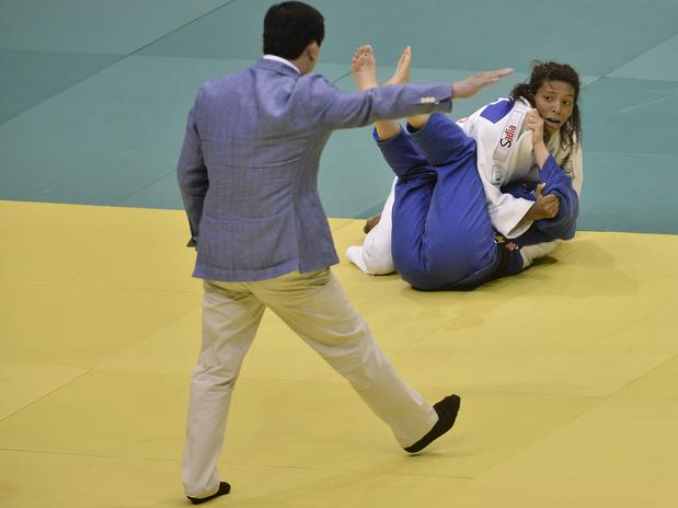 Rafaela Silva on her way to victory over America's Marti Malloy in the final of the under 57 kilogram category at the World Championships in Rio de Janeiro