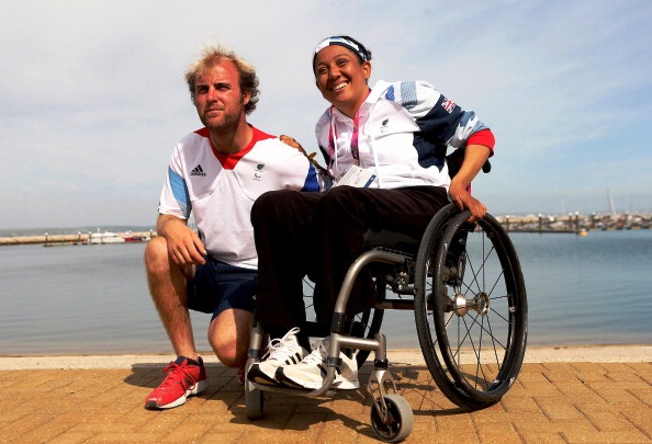 Niki Birrell and Alexandra Rickham celebrating their bronze medal at London 2012