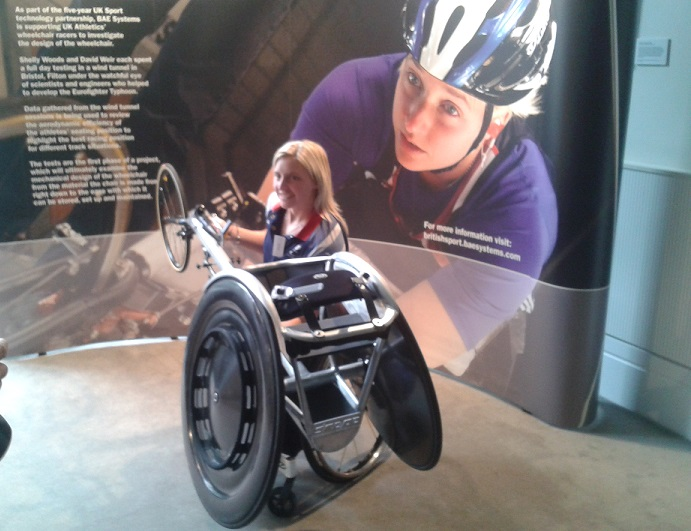 London 2012 marathon silver medallist Shelly Woods unveiled the new racing wheel today as the partnership between UK Sport and BAE Systems was announced today