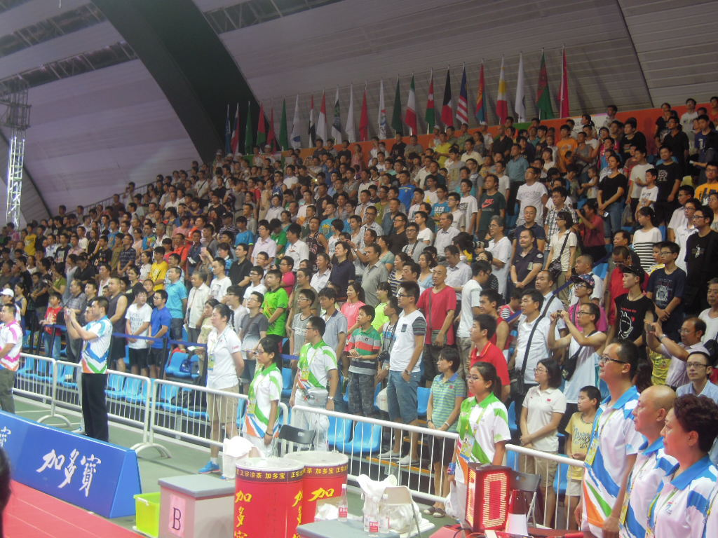 Strong crowds, such as this one for the 3x3 basketball finals, have been a hallmark of the Asian Youth Games