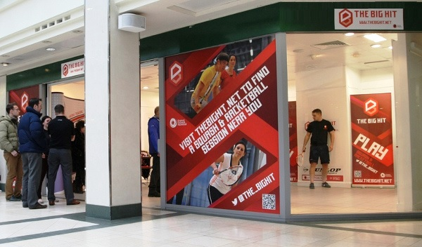 """The Big Hit campaign has erected """"pop-up"""" squash courts in shopping centres around the country"""