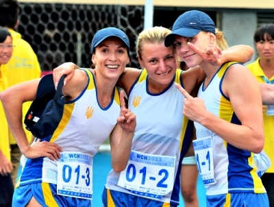 The Ukraine womens relay team celebrate after winning gold in Kaohsiung