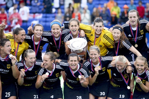The victorious German women's hockey squad who claimed European Championship gold against England