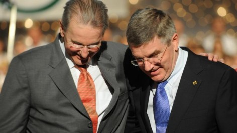Thomas Bach (right) is the favourite to succeed Jacques Rogge (left) as President of the IOC