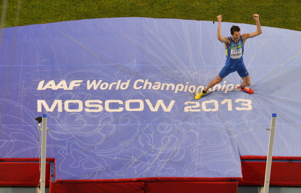 Ukraine's Bohdan Bondarenko celebrates his victory in the high jump at the IAAF World Championships in Moscow