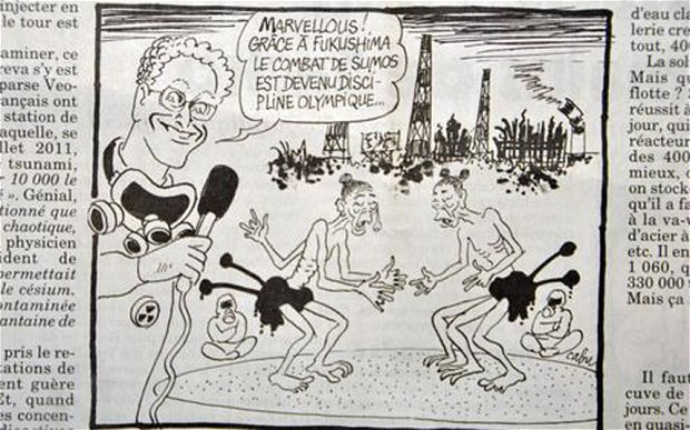 A cartoon in a French weekly newspaper depicts sumo wrestlers with extra limbs competing in front of the crippled nuclear plant