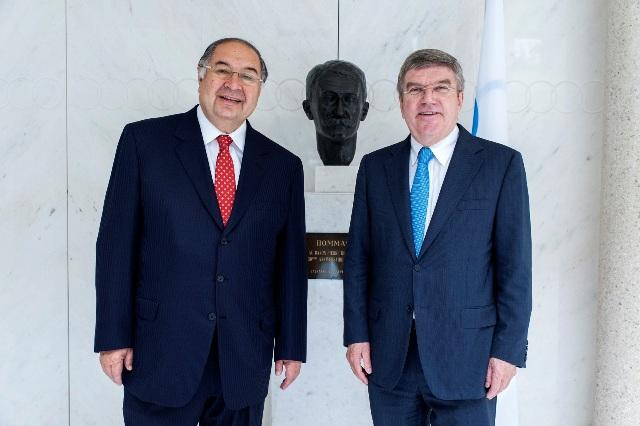 International Fencing Federation President Alisher Usmanov meets new IOC chief Thomas Bach in Lausanne